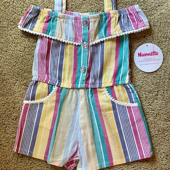 Nannette Girls Romper one piece 2T Striped NWT
